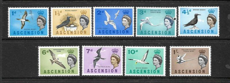 ASCENSION ISLAND  1963  BIRDS  PART SET TO 1/-   MLH    SG 70/78