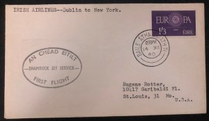 1960 Dublin Ireland First Flight Cover FFC To New York Usa Shamrock Jet Service