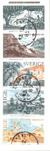 Sweden Sc  1562-6 1985 Nobel prize Literature stamp set used