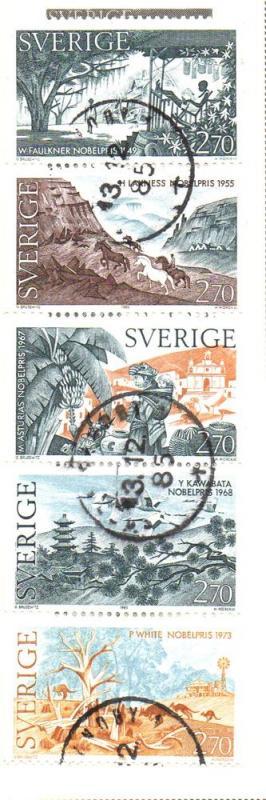 Sweden Sc  1562-6 1985 Nobel prize Literature stamp set used