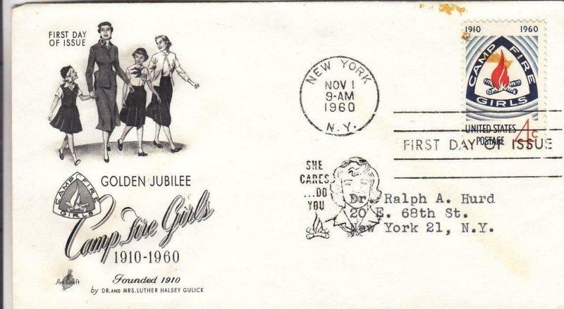 1960, 50th Anniv. Camp Fire Girls, Artcraft, FDC (D12522)