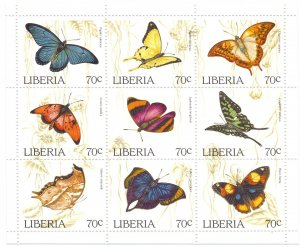 Liberia. 1996. Small sheet 1660-8. Butterflies fauna. MNH.