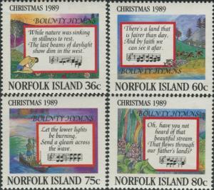 Norfolk Island 1989 SG470-473 Christmas bounty hymns set MNH