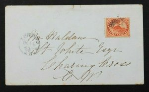 STAMP CANADA Sc# 15 TIED ON COVER 1860 FIVE CENTS TOROTO TO CATHAM