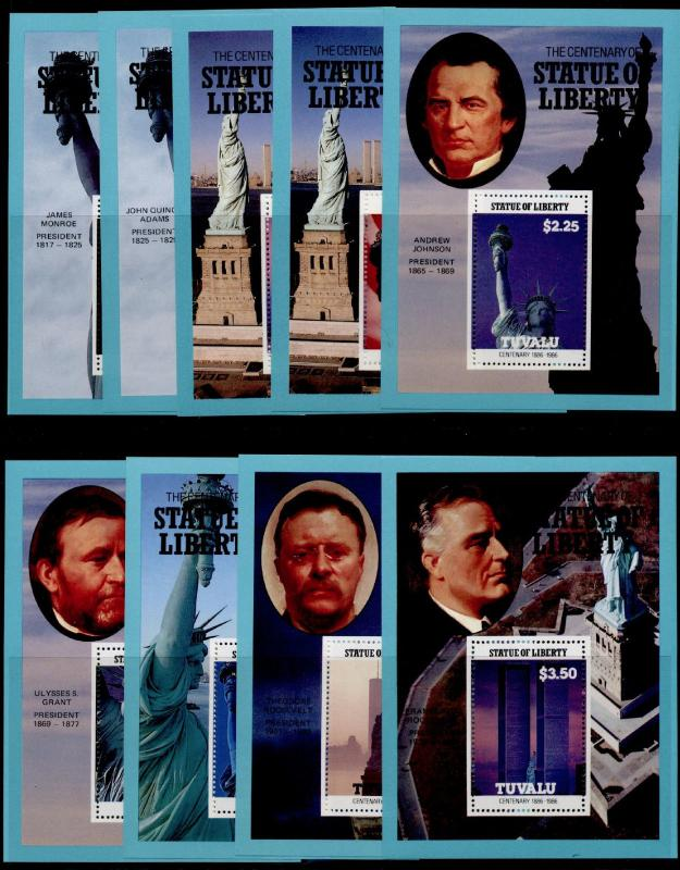 Tuvalu 401-9 MNH Statue of Liberty, American Presidents, Architecture