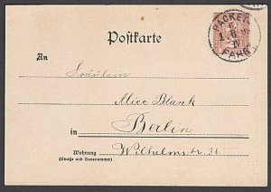 GERMANY BERLIN Private Post 1896 2pf on cat postcard used...................B346
