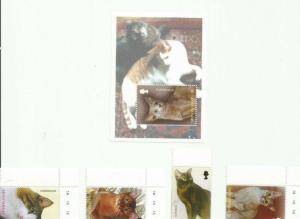 MONTSERRAT 2004 CATS SCOTT 1099-1102 AND 1103 MNH COMPLETE SET