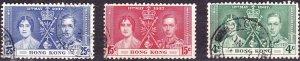 HONG KONG 1937 4c/15c/25c Coronation Set SG137-139 Fine Used
