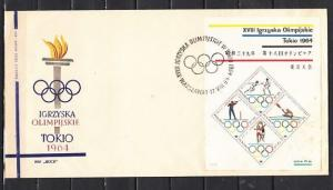 Poland, Scott cat. 1265. Tokyo Summer Olympics s/sheet. First Day Cover.