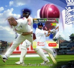 Sao Tome and Principe 2004 Cricket Nasser Hussain Souvenir Sheet Perforated MNH