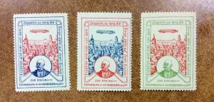 Germany, ZEPPELIN Cinderella Poster Stamps lot of 3 different colors white paper