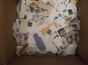 14 POUND BOX OF US SMALL, MEDIUM AND LARGE USED UNITED STATES STAMPS ON PAPER