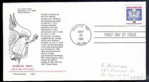 UNITED STATES FDC 29c Official Mail 1991 Aristocrat