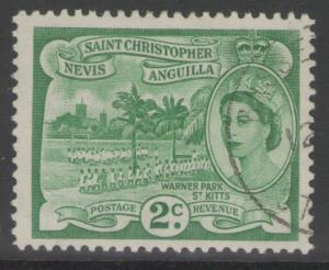ST.KITTS-NEVIS SG108 1954 2c GREEN FINE USED