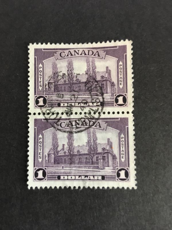 Canada #245 Attractive Used Pair USC Cat. $20. 1938 $1. Chateau de Ramsay-VF-CDS