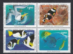 LH9) Lord Howe Island, Marine Series – 1/10/99 - Block of 4