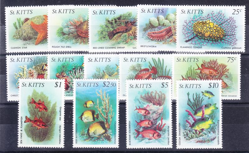 St. Kitts No.139-152 Marine Life Complete set VF/NH (14)