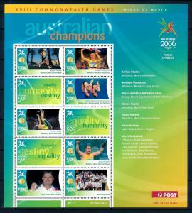 [95427] Australia 2006 Commonwealth Games Basketball Athletics Diving Sheet MNH