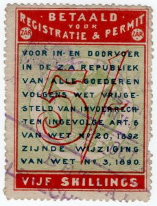 (I.B) Transvaal Revenue : Customs Frank Fee 5/-