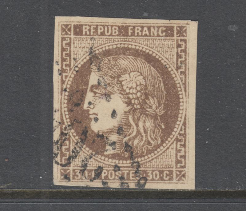 France Sc 46 used. 1870-71 30c brown on yellowish Ceres, 4 margins, yellow brown