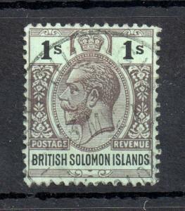 Solomon Islands KGV 1914 1/- olive black fine used SG#33A WS13521