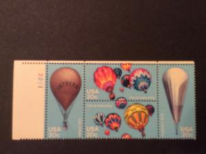 U.S.#2035a Balloons 20c Plate Block of 4, MNH. See Description.
