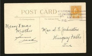 Canada 105 King George V Admiral Used on Postmarked 1925 Montreal PQ Postcard