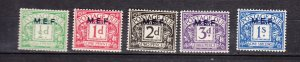 J26371  jlstamps 1942 great britain middle east africa mlh #j1-5 ovpt,s