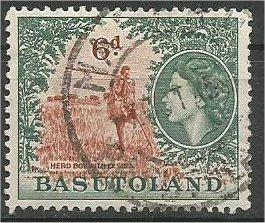 BASUTOLAND, 1954, used 6p, Herdboy with lesiba  Scott 51