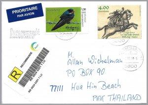 LUXEMBOURG-2018 1.3e Mengpost Birdpex Personalized Stamp + 4e Sc 1436 Reg Cvr