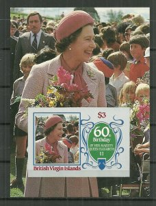 1986 Virgin Islands Queen Elizabeth 60th BD souvenir sheet MNH