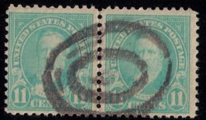 US Sc 563 Used Green Blue Vert. Pair F-VF