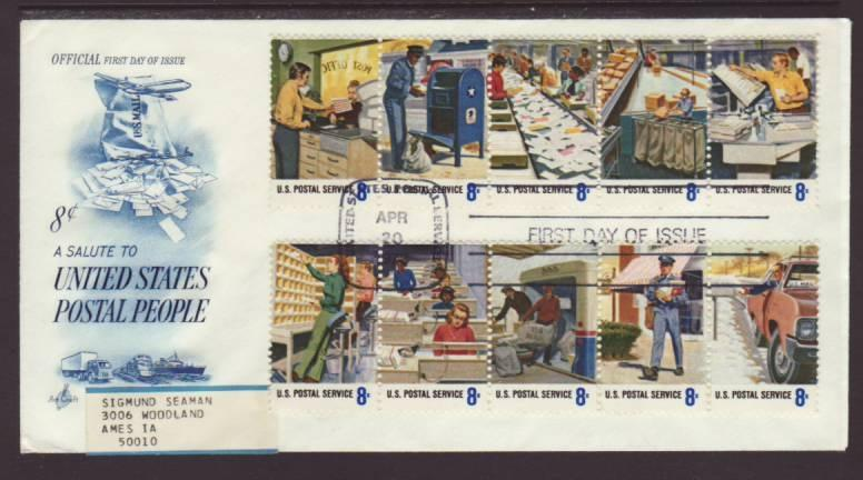 US 1498a Postal Workers 1973 Label FDC