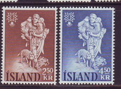 Iceland Sc 325-6 1960 Refugee Year stamp set mint NH