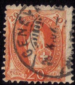Switzerland Sc 82 20c Orange Used Fine
