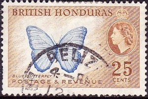 BRITISH HONDURAS 1953QEII 25c Bright Blue & Yellow-Brown SG186Fine Used