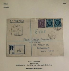 1944 Palestine British Field Post Airmail Cover To Johannesburg south Africa