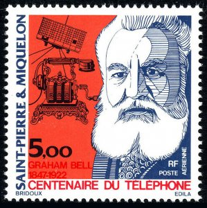 St Pierre & Miquelon C60, MNH. 1st telephone call by A.G.Bell, 1976