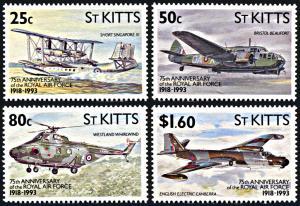 Saint Kitts 351-354, MNH, 75th Anniversary of Royal Air Force