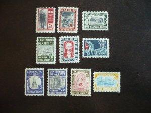 Stamps - Cuba - Scott# C79-C86,C88-C89 - Mint Hinged Partial Airmail Set of 10
