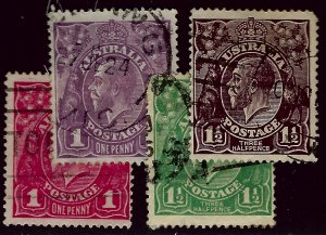 Australia SC#21-22, 24-25 Used F-VF...An Amazing Country!