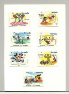 Grenada #1185-1194 Olympics, Disney 9v & 1v S/S Chromalin Proofs in 2 Folders