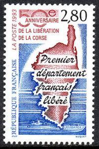 France 2372, MNH. Liberation of Corsica, 50th аnniv. 1993