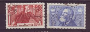 J761 jl,s stamps 1936 france jaures set/2 scn 313-4