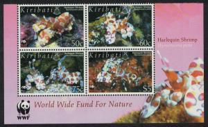 Kiribati WWF Harlequin Shrimp 4v Block of 4 WWF Logo SG#746-749 MI#983-986