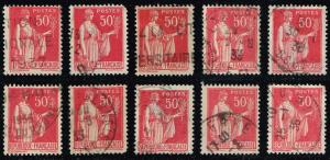 France #267 Peace with Olive Branch Lot of 10; Used (2.50)