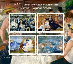 Z08 IMPERF ST190502a Sao Tome and Principe 2019 Pierre-Auguste Renoir MNH