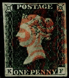 SG2, 1d black PLATE 4, FINE USED. Cat £400. RED MX. 4 MARGINS. USA CERT. KF
