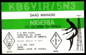 QSL Radio Card Saad Mahaini,Nigeria,KB6VIR/5N3, Man Beating A Drum, (Q3176)