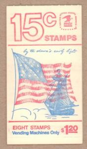 BK130  $1.20 Booklet 1598a, 15¢ Ft McHenry Flag (1)  Issued in 1978